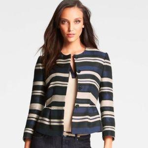 ANN TAYLOR Striped Peplum Jacket Blazer NEW